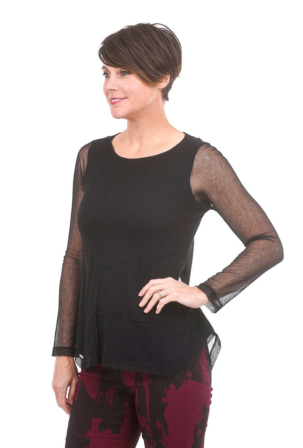 Porto Collage Top, Black