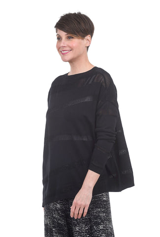 Planet Illusion Knit Sweater, Black One Size Black