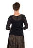 Comfy USA 3/4-Sleeve Crinkle Mesh Tee, Black