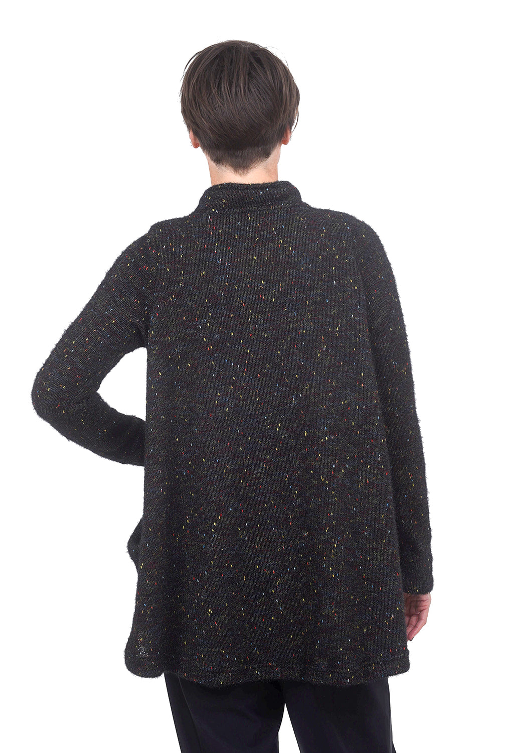 Alembika Marled Funnel Button Sweater, Black