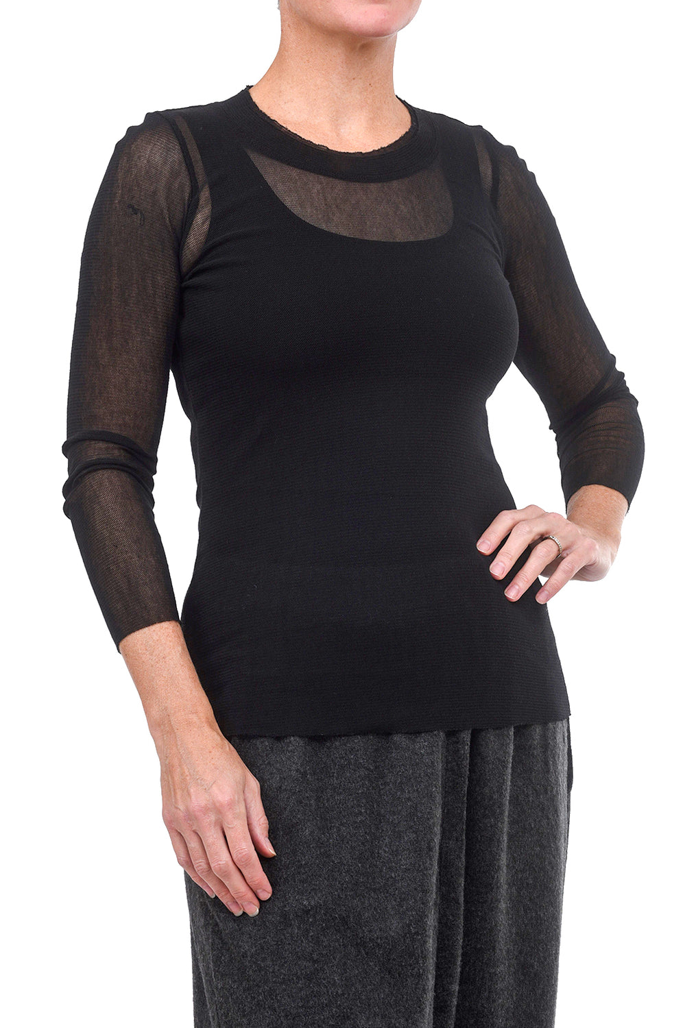 Cynthia Ashby CA Longer Mesh Tee, Black