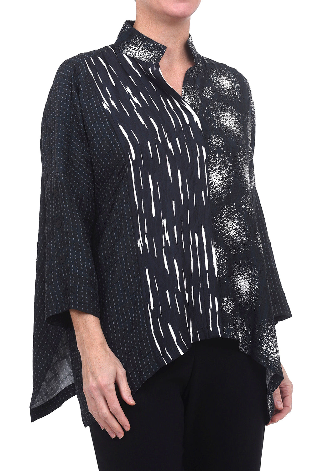 Dressori Paneled Cape Shirt, Black