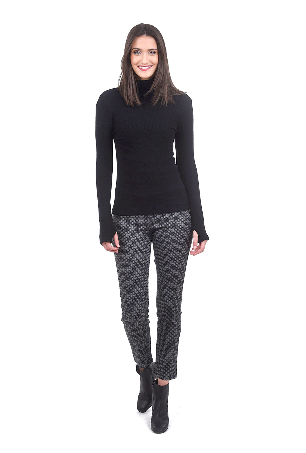 Enza Costa Sweater Knit Ribbed Tneck, Black