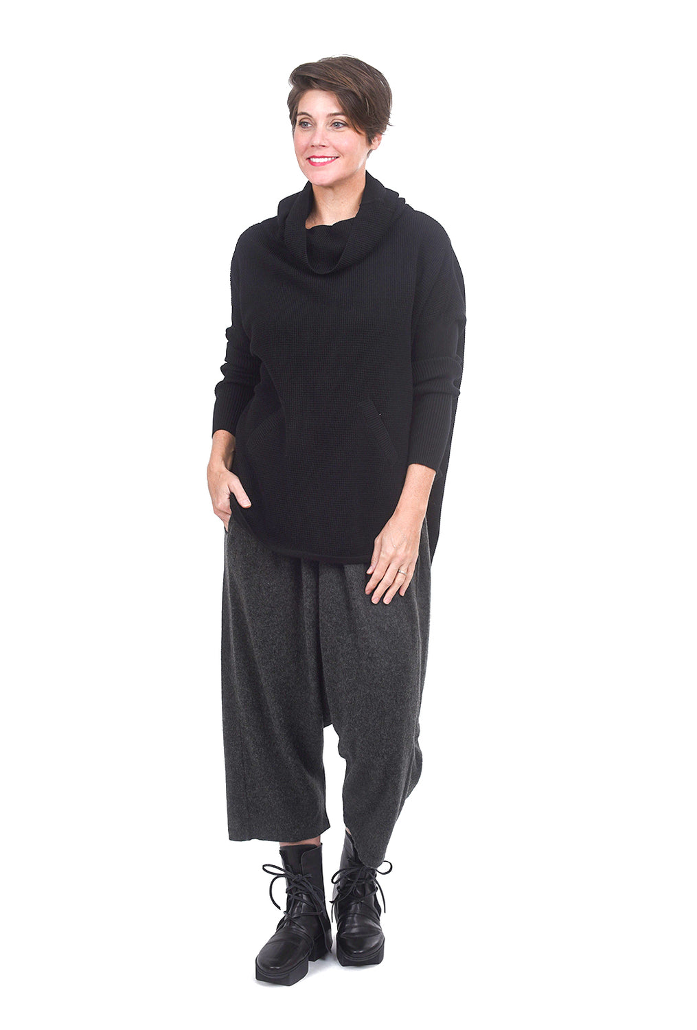 Planet Perfect Waffle Cowl, Black One Size Black