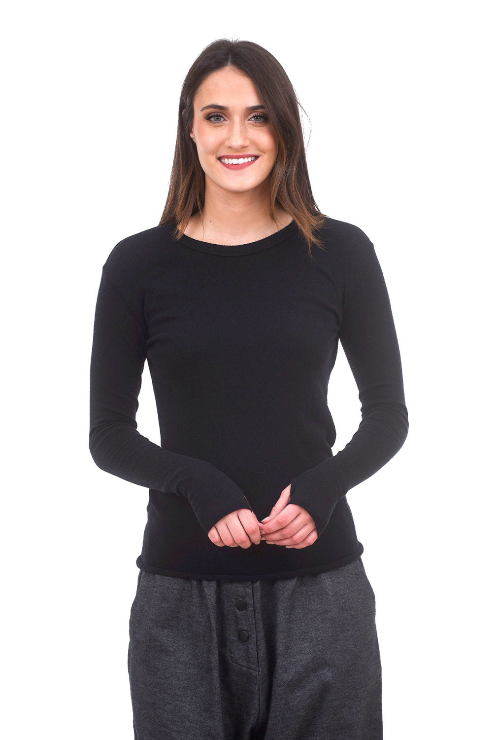 Enza Costa Cashmere-Cotton Loose Crew, Black