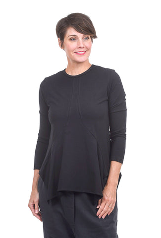 Amma Seamed Detail T-Shirt, Black