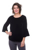 Cut Loose Velvet Bell-Sleeve Top, Black