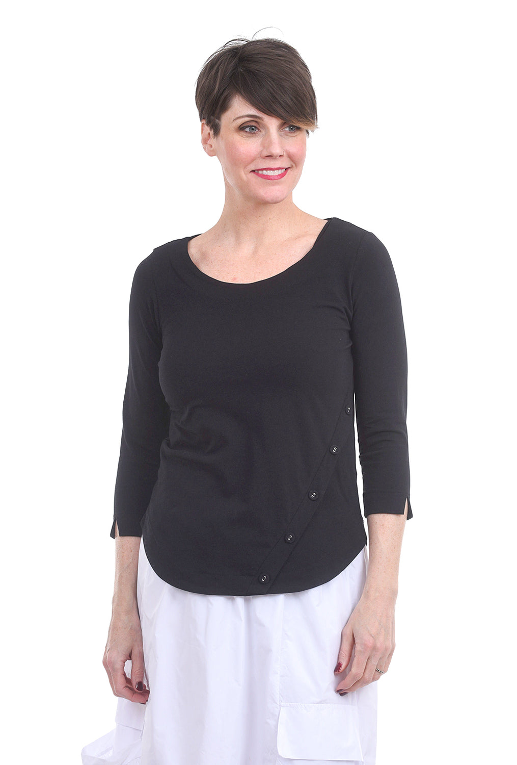 Luukaa Nikki Jersey Button Tee, Black