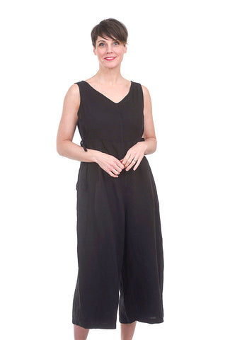 Cut Loose Linen V-Neck Jumpsuit, Black