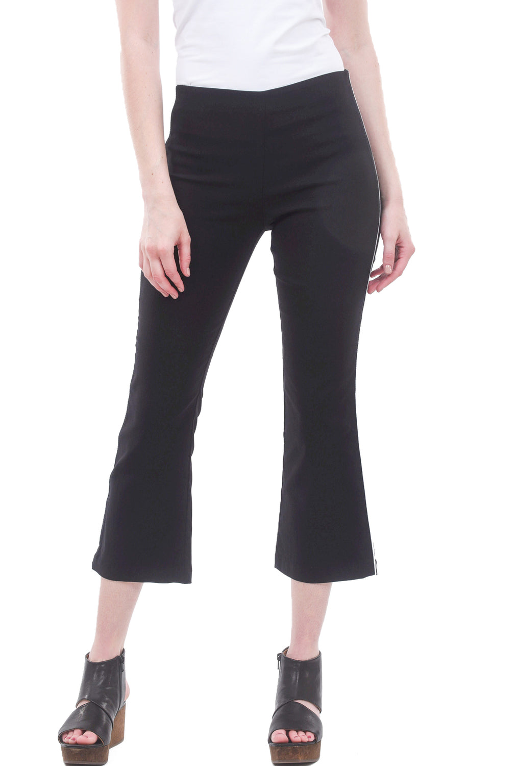 Equestrian Piped Cropped Miley Pants, Black/White