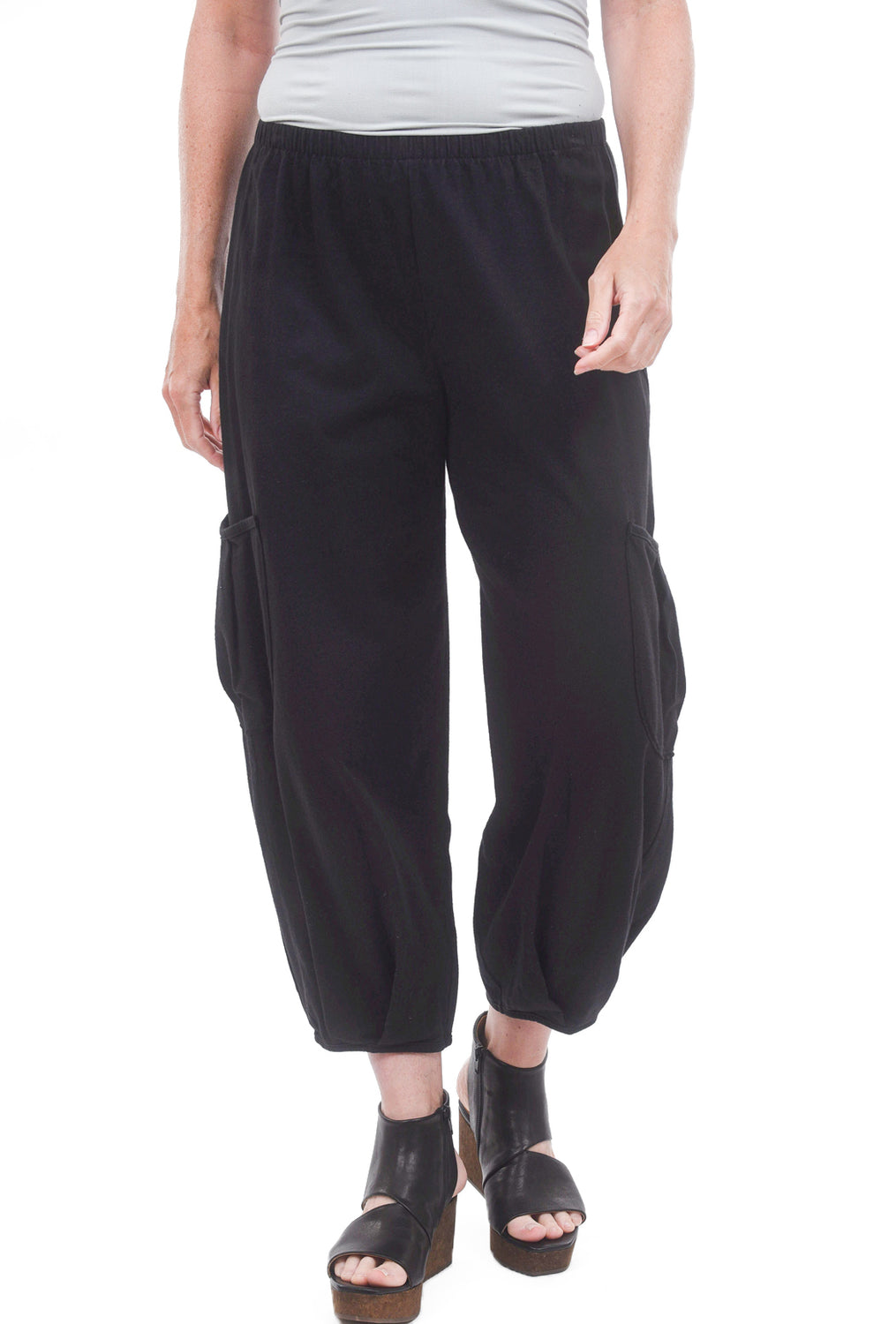 Fenini Side Pocket Cropped Pants, Black