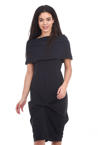 Porto Bilbao Stripe Dress, Black