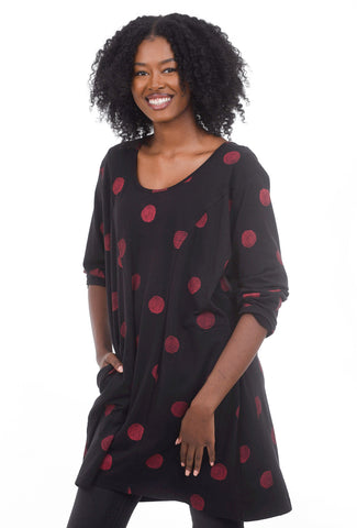 Snapdragon & Twig Sienna Jersey Tunic, Black/Red