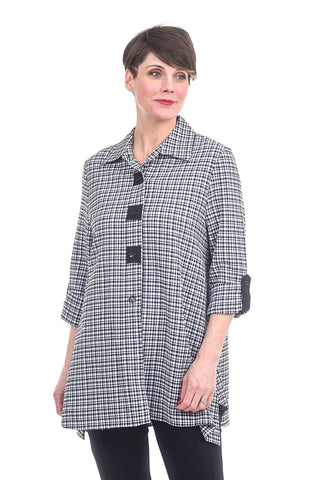 Moonlight Gingham Check Blouse, Black/White