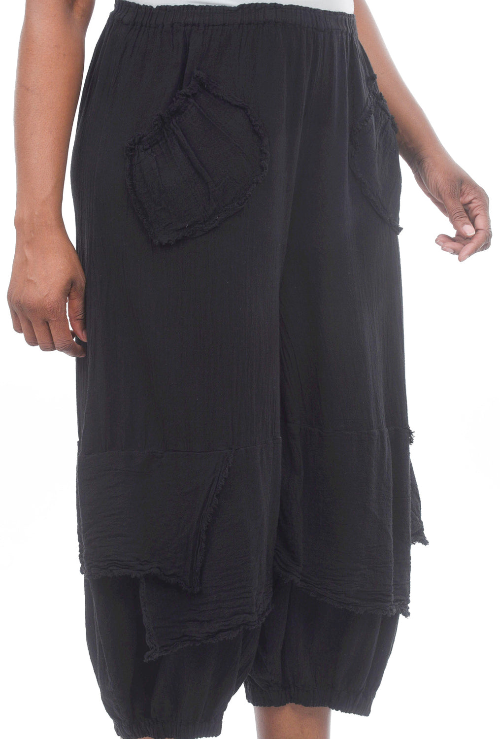 Oh My Gauze Guchi Pocket Pants, Black One Size Black