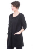 Oro Bonito Ribbed Details Tunic, Black One Size Black