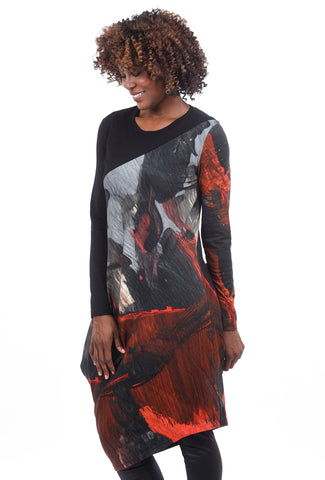 Crea Concept Jersey Print Panel Dress, Black/Red