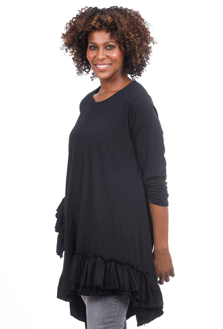 Oro Bonito Jersey Ruffle-Trim Tunic, Black One Size Black