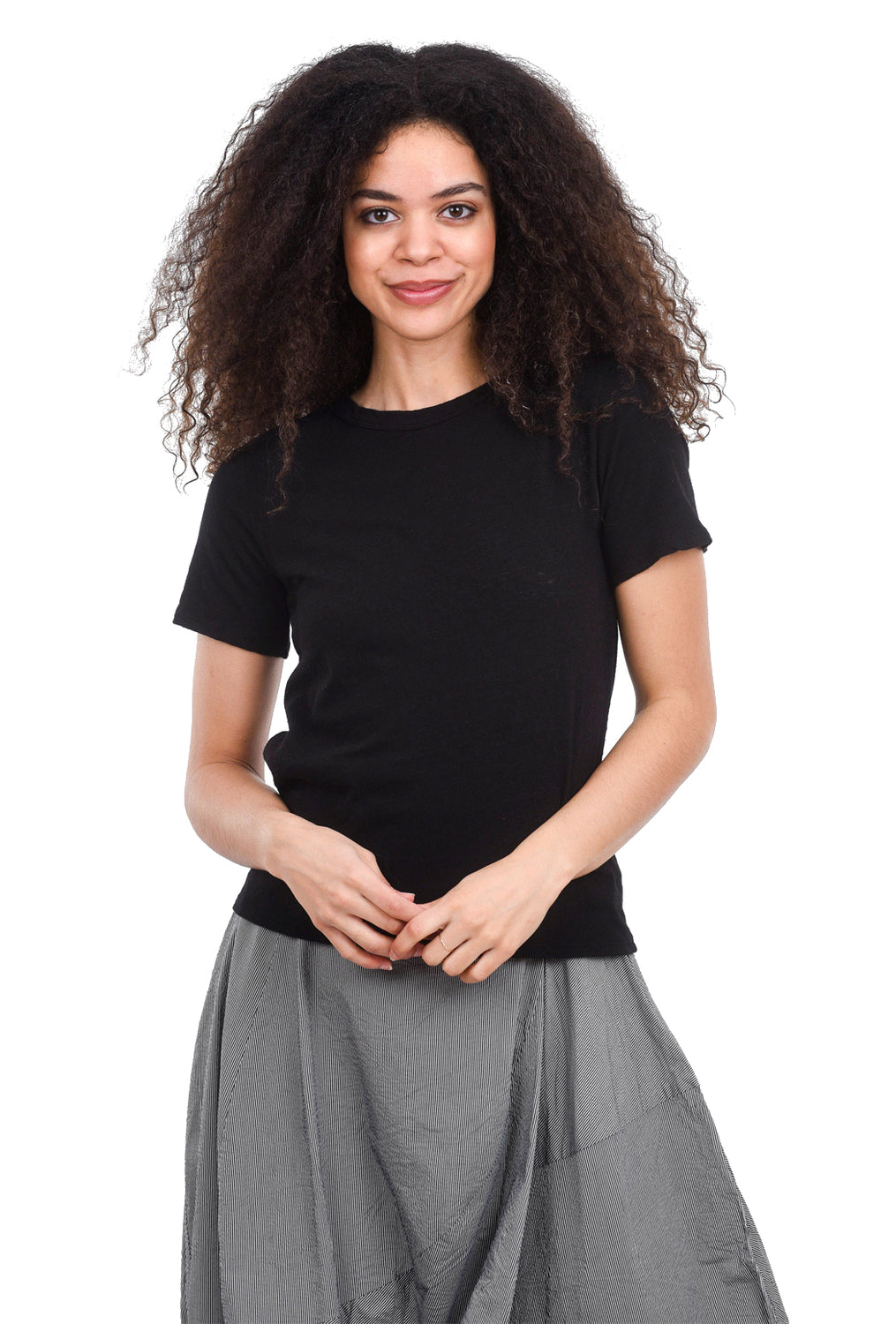 Enza Costa Slub Easy Boxy Tee, Black