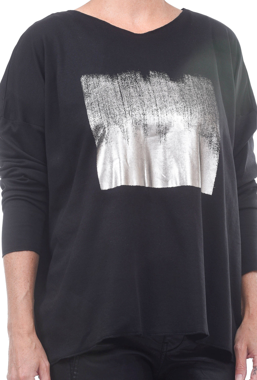 Planet Foil Hipster Tee, Black/Pewter One Size Black