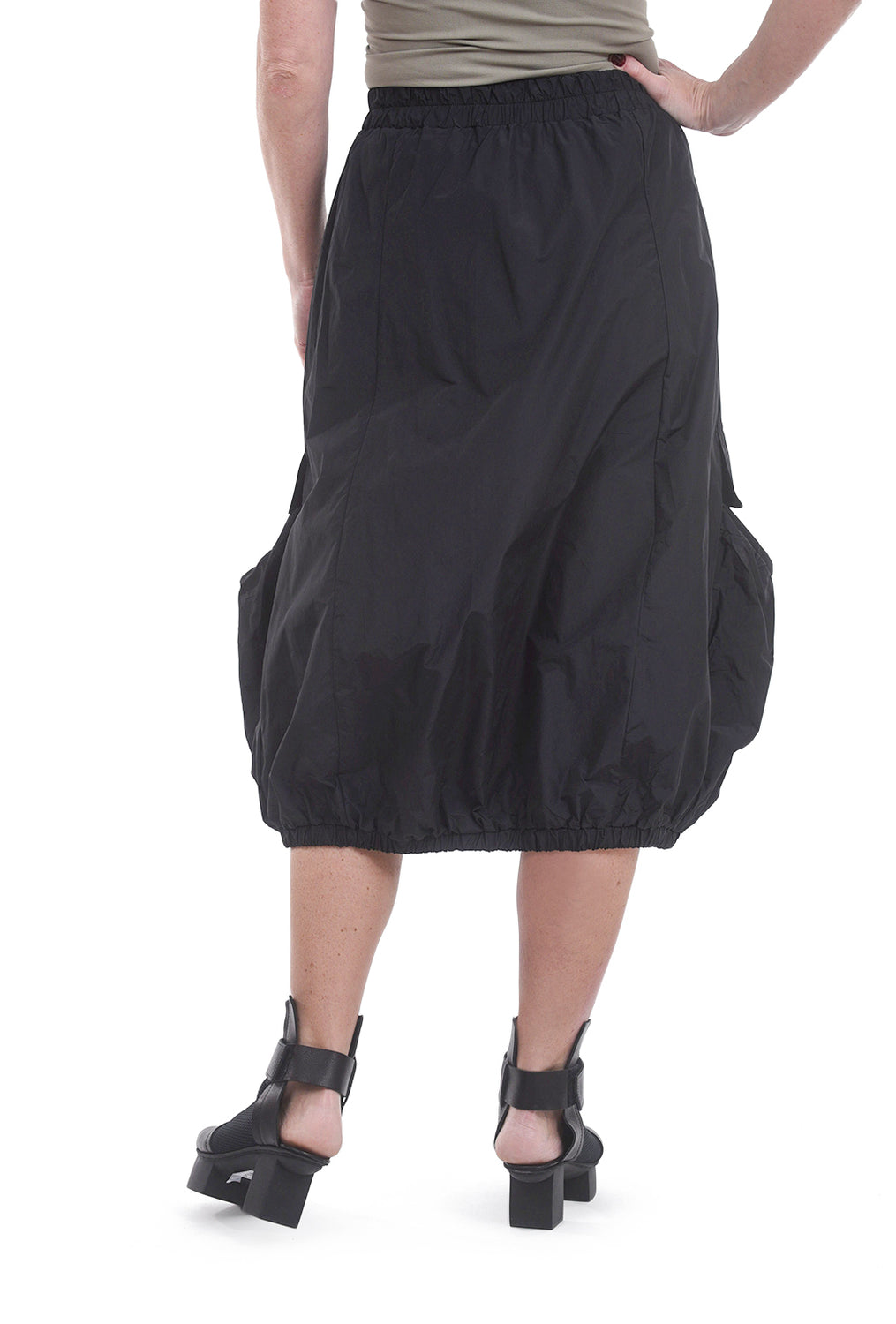 Luukaa Nikki Nylon Bubble Skirt, Black