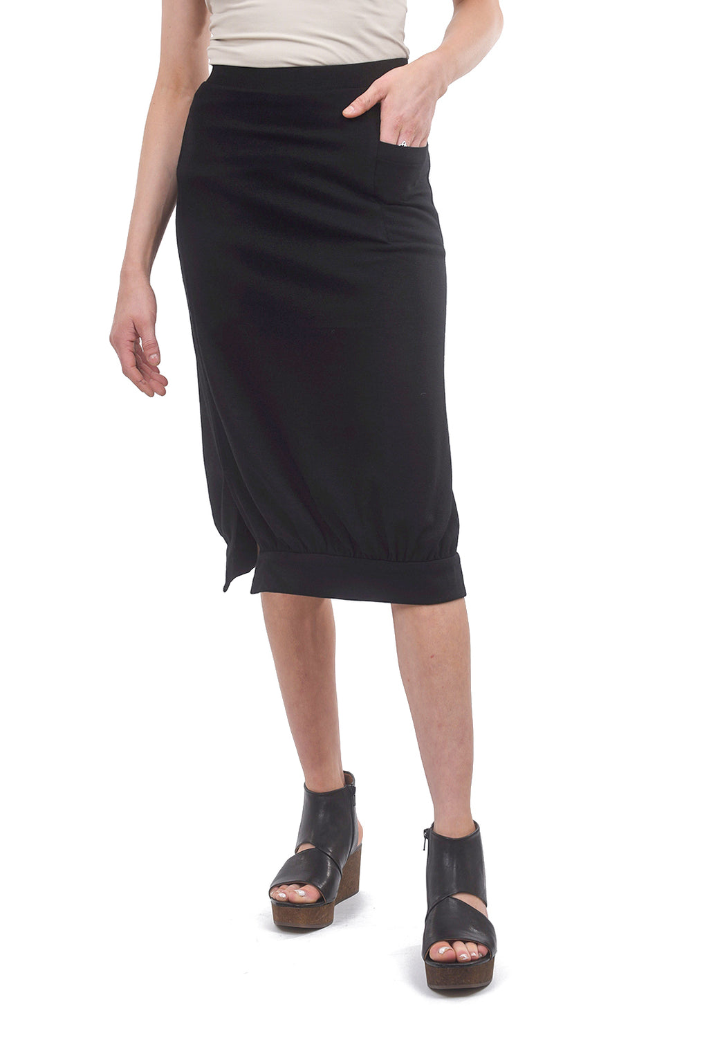 a.oei studio Square-Knit Skirt, Black
