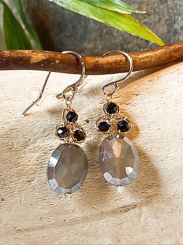Michelle Pressler Black Spinel and Gray Moonstone Earrings