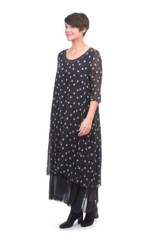 Grizas Dot Chiffon Layered Dress, Anthracite