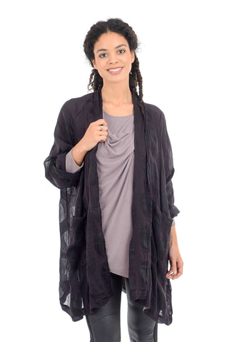 Grizas Linen-Silk Burnout Topper, Black Violet