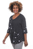 Transparente Clothing Linen Dots & Stripes Blouse, Black