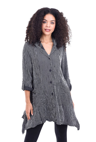 Moonlight Crimped Collar Swing Shirt, Ice/Black