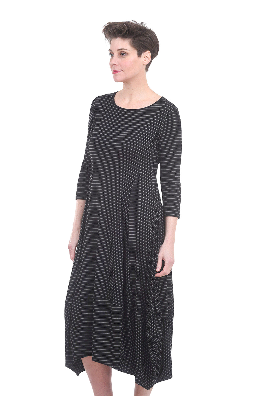 Comfy USA Modal Kati Dress, Black Pinstripe