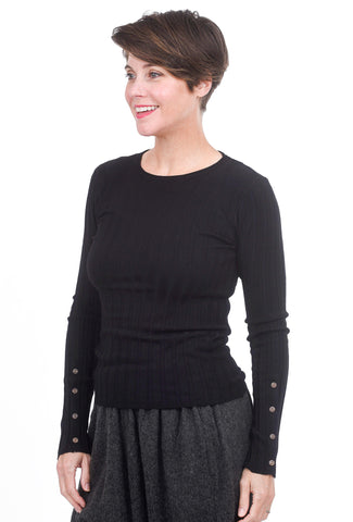 Mystree Slim Ribbed Sweater, Black