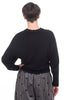 Enza Costa Cropped Dropped Sweater, Black