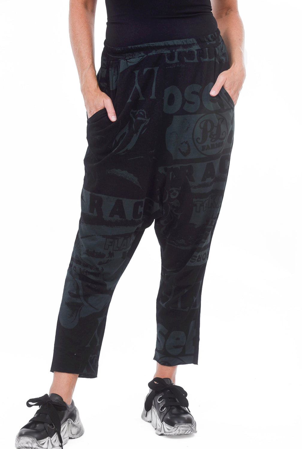 Rundholz Black Label Melange Jersey Pants, Bottle Print