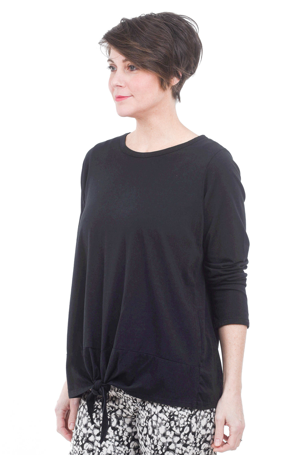 Oro Bonito Knot Hem Detail Top, Black One Size Black