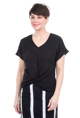 Patrizia Luca Front Twist Blouse, Black