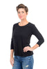 Cut Loose 3/4-Sleeve Bias Tee, Black