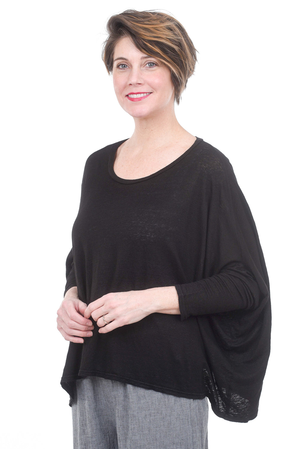 Cut Loose Linen Knit Drop-Shoulder Tee, Black One Size Black