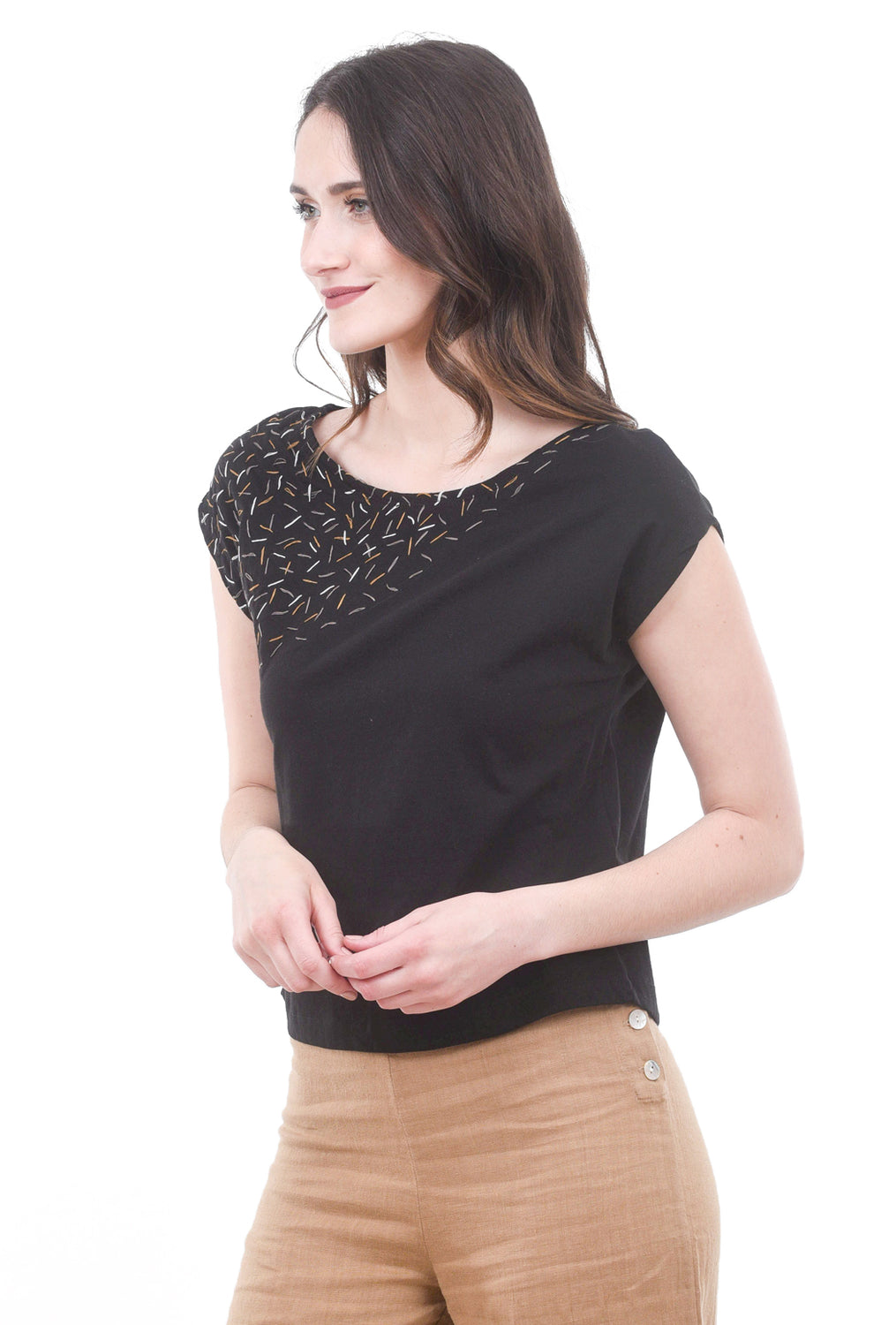 Tonle Keang Embroidered Top, Black