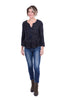 The Korner Tweedy Trimmed Top, Navy