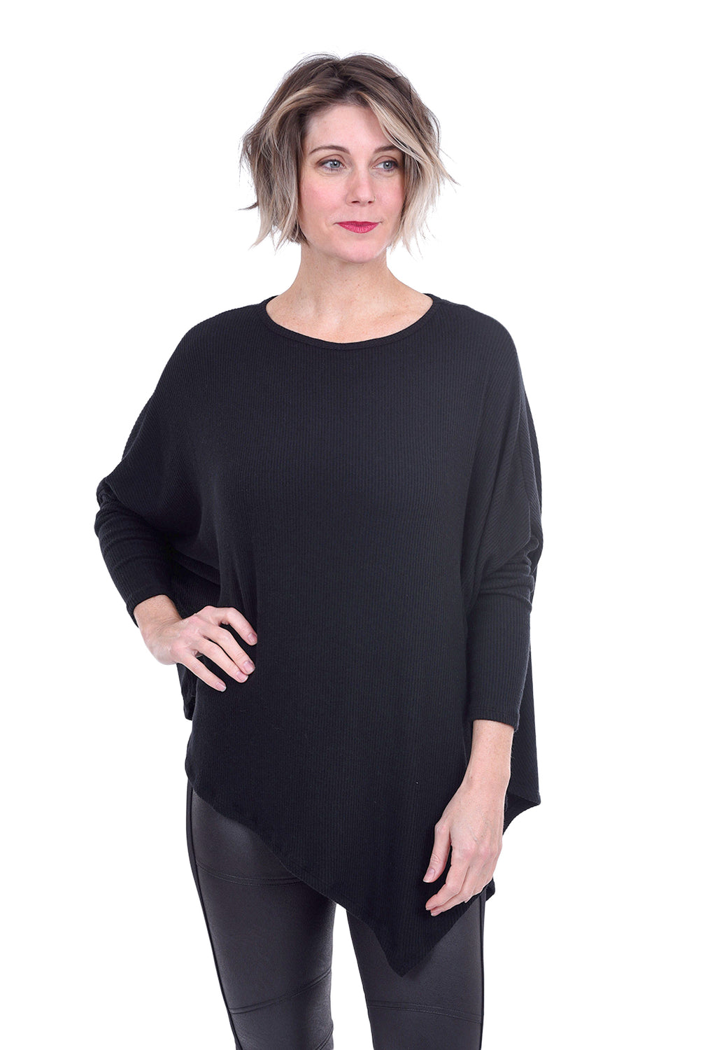 Stark x Ribbed Asymmetric Cozy Top, Black