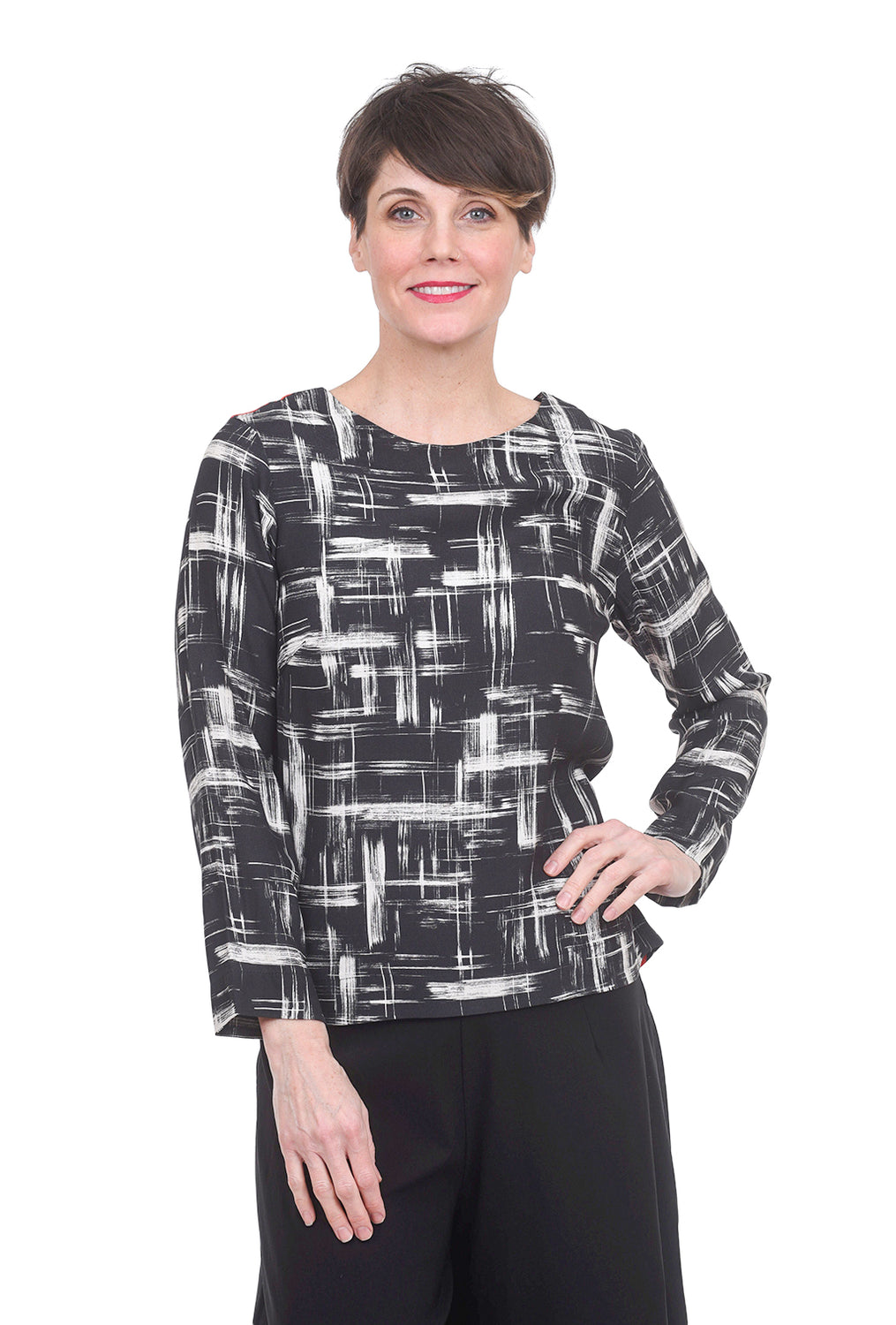 Bitte Kai Rand Brush Grid Blouse, Black