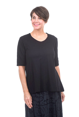 Wilt Elbow-Sleeve Trapeze Tee, Black