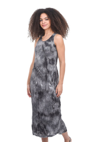 Metal Crinkle Tie-Dye Dress, Gray