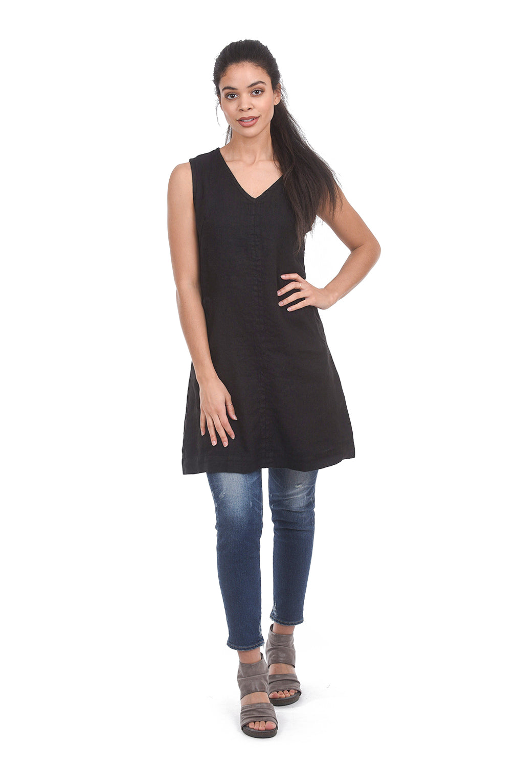 Cut Loose Linen V-Neck Shift Tunic, Black