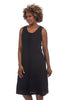 Cut Loose Linen Combo Placket Dress, Black