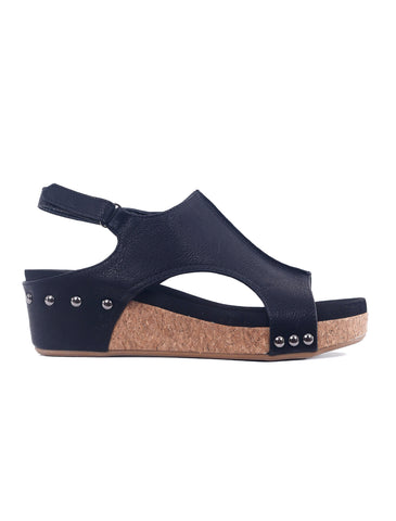 Corkys Volta Wedges, Black Smooth