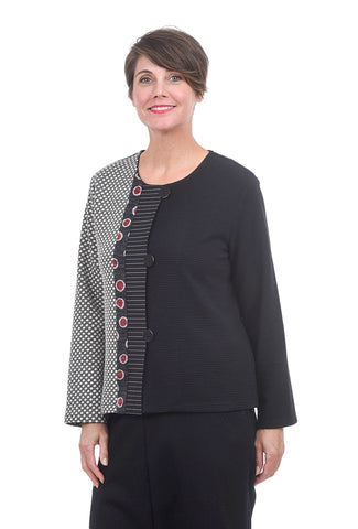 Christopher Calvin Mix Knit Jacket, Black/White