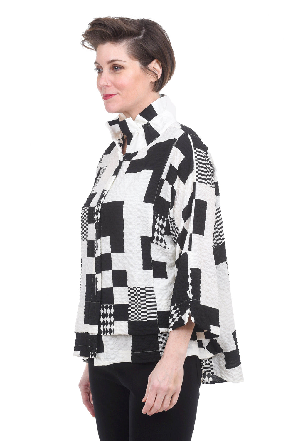 Moonlight Crinkle Blocks & Checks Blouse, White/Black